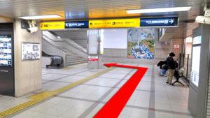 (1)京阪京橋駅(片町口)の改札を出て、左の階段・エスカレーターを上がる。
